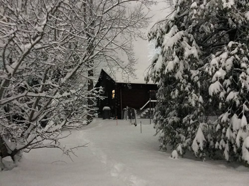The Back of the Cabin - Snow at Meadowbrook Log Cabin - Winter at the Cabin