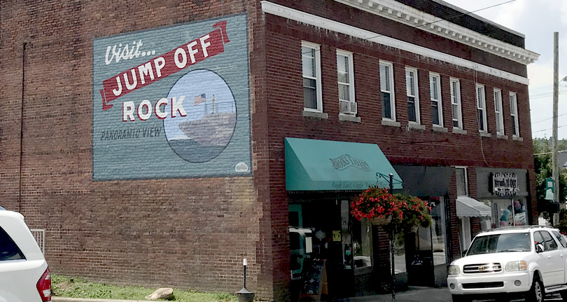 Brooks Tavern and the Visit Jump Off Rock Mural