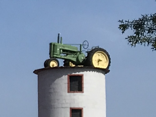 John Deere tractor on the silo at Grandad's Apples
