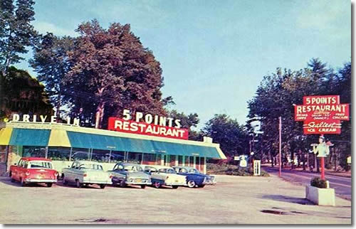 Old Postcard of 5 Points Restaurant and Drive in