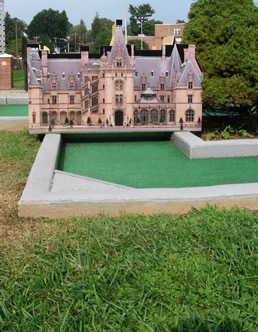 This hole looks like the Biltmore House. - Laura E. Corn Mini-Golf at Boyd Park near Meadowbrook Log Cabin