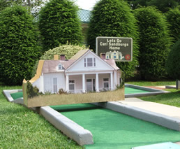 This one looks like Connemara, the Carl Sandburg House. - Laura E. Corn Mini-Golf at Boyd Park near Meadowbrook Log Cabin