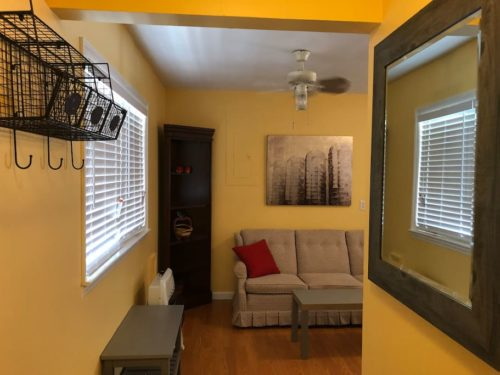 Entry to the Apple Barn, Ceiling Fans and Air Conditioner - Apple Barn Cottage in Flat Rock