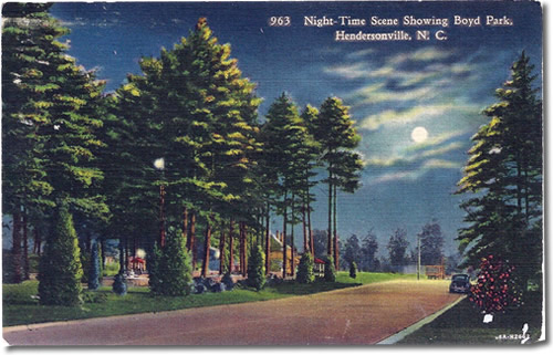 Old Postcard of Boyd Park Tennis Courts in Hendersonville, NC – Things to do near Meadowbrook Log Cabin in Hendersonville, NC