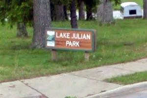 Lake Julian Park Sign at the corner of Long Shoals Road and Overlook Road