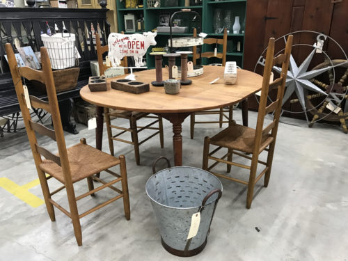 Ladderback chairs, Cow sign, oak table, bucket... Needful Things Antique Mall – Shopping near Meadowbrook Log Cabin, Hendersonville, NC