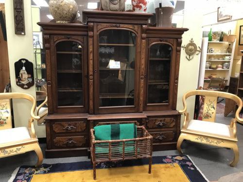 Eastlake Triple Walnut China Cabinet mid 1800s - Needful Things Antique Mall – Shopping near Meadowbrook Log Cabin, Hendersonville, NC