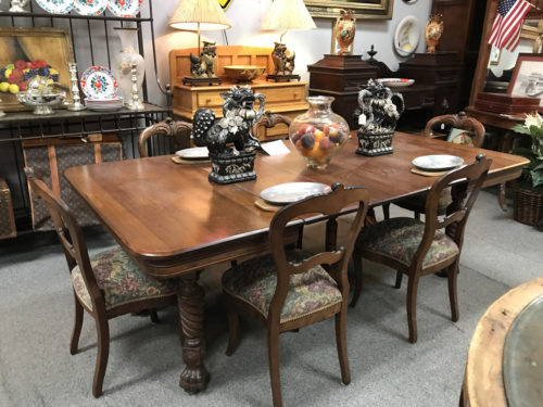 Walnut Hairy Paw Victorian Dining Table with Balloon Back Chairs from about 1870s - Furniture and collectibles - Needful Things Antique Mall – Shopping near Meadowbrook Log Cabin, Hendersonville, NC