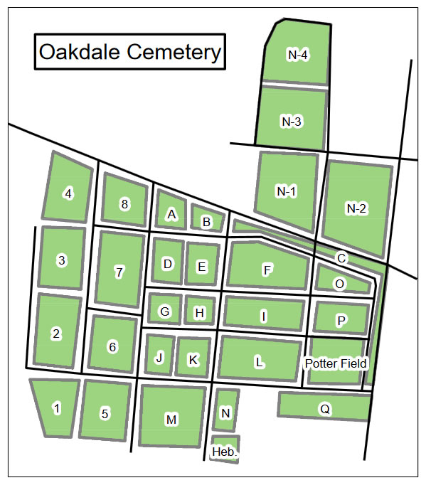 The most recent Map of Oakdale Cemetery - Wolfe's Angel Marble statue from the Asheville shop of W.O. Wolfe. Inspired title of son Thomas Wolfe's Look Homeward Angel. Stands 150 feet south. - Look Homeward Angel at Oakdale Cemetery – Near Meadowbrook Log Cabin, Hendersonville, NC