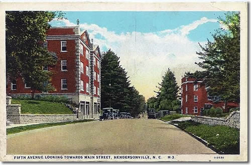 Old Postcard of Neo-Classical Revival Buildings on Fifth Avenue West looking toward Main Street Left 623-629 Maxwell Apartments ca. 1920, where the Flower Market is now Right 616 Ambassador Apartments ca. 1926 Both are probably designed by architect Erle Stillwell. - Laurel Park History Drive to Jump Off Rock - Things to do near Meadowbrook Log Cabin, Hendersonville, NC
