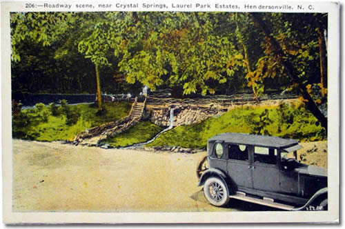 Old Postcard of Crystal Spring - Laurel Park History Drive to Jump Off Rock - Things to do near Meadowbrook Log Cabin, Hendersonville, NC