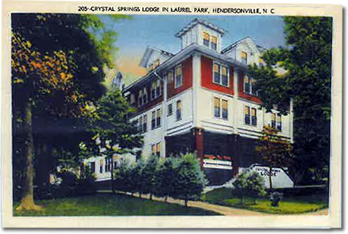 Old Postcard of Crystal Springs Lodge in Laurel Park - Laurel Park History Drive to Jump Off Rock - Things to do near Meadowbrook Log Cabin, Hendersonville, NC