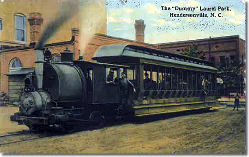 Old Postcard of the Dummy Train - Laurel Park History Drive to Jump Off Rock - Things to do near Meadowbrook Log Cabin, Hendersonville, NC