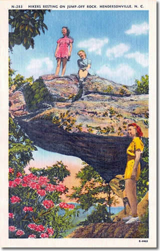 Old Postcard of Jump Off Rock - Laurel Park History Drive to Jump Off Rock - Things to do near Meadowbrook Log Cabin, Hendersonville, NC