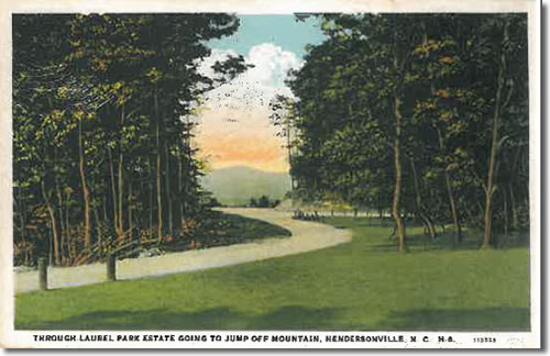 Old Postcard of Laurel Park Highway - Laurel Park History Drive to Jump Off Rock - Things to do near Meadowbrook Log Cabin, Hendersonville, NC