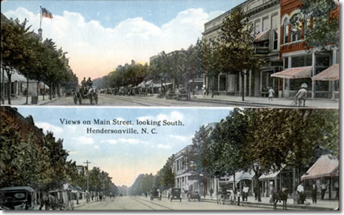 Old Postcard of Main Street Hendersonville - Laurel Park History Drive to Jump Off Rock - Things to do near Meadowbrook Log Cabin, Hendersonville, NC