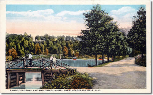 Old Postcard of Rhododendron Lake - Laurel Park History Drive to Jump Off Rock - Things to do near Meadowbrook Log Cabin, Hendersonville, NC