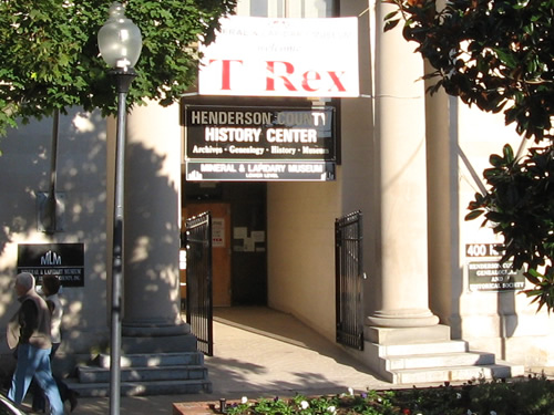 The Henderson County History Center, the Genealogical and Historical Society is in the same building as the Mineral and Lapidary Museum in Hendersonville, North Carolina near Meadowbrook Log Cabin