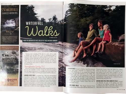 Waterfall Walks – When the Weather Gets Hot, Cool Off at These Natural Wonders by Kimberly Button AAA GO Magazine May/June, 2018 - Nearby Waterfall Walks – Meadowbrook Log Cabin, Hendersonville, NC