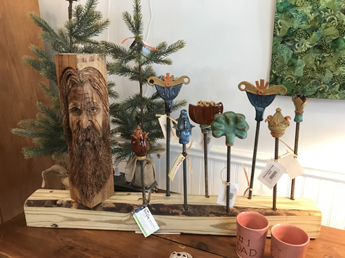 Ceramic Lawn Stakes and other Locally Made Crafts at the Firefly Craft Gallery in Historic Flat Rock