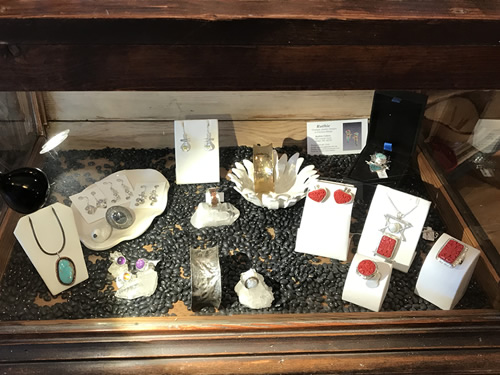 Timeless Jewelry Designs in Precious Metals by local jewelry artist Ruthie Cohen sold at the Firefly Craft Gallery in Historic Flat Rock