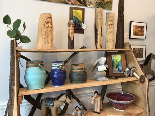 Pottery and Wood Carving at Firefly Craft Gallery in Historic Flat Rock
