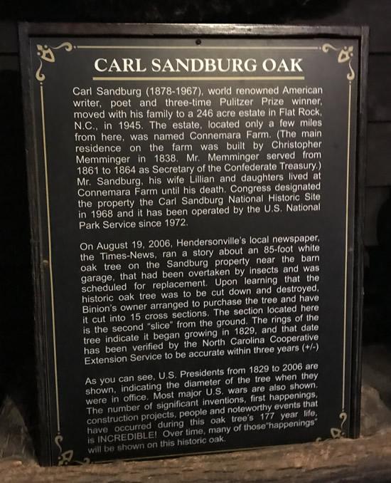 Carl Sandburg Oak at Binions Roadhouse in Hendersonville, NC