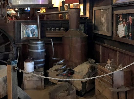 Popcorn Sutton's Still is at Binions Roadhouse in Hendersonville, NC