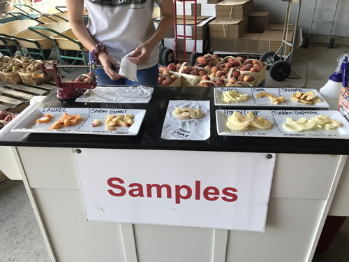 Try samples at Grandad's Apples