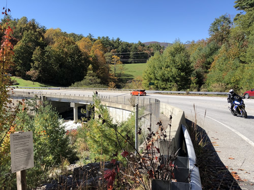 US Route 64 goes over the top of Toxaway Falls