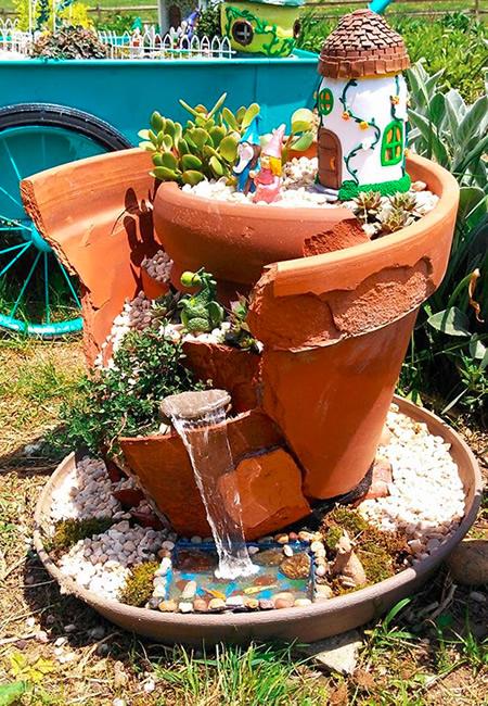 Kat's Kreative Klay Broken Pot Garden with Waterfall